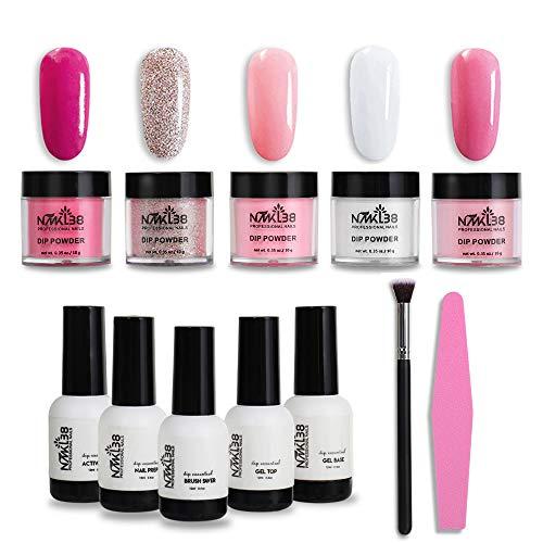 NMKL38 Powder Polish Dip Nail Art Kit Acrylic Color Pigment Powders No Need UV/LED Lamp Easy to Apply Diy at Home