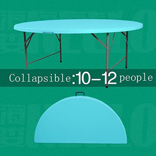 LVZAIXI Table Pliante Ronde, pliée en Deux. Un Grand Nombre de Tables Rondes sont Assis confortablement pour Beaucoup de Gens. (Couleur : Bleu, Taille : 1.5m)