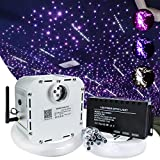 AMKI 32W Bluetooth Controlled Twinkle LED Remote RGB 4-Speed Fiber Optic Star Ceiling Kit Shooting Stars Effect Light + Crystal + Mix Size Fiber Optical Cables (0.75mm+1mm+1.5mm) 16.4ft Long 800pcs