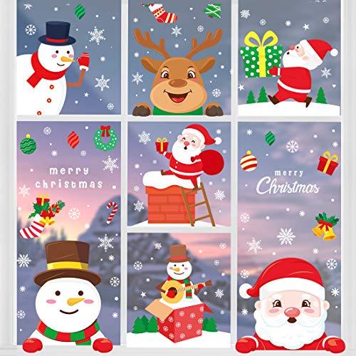 O-Kinee Pegatinas Navidad para Ventanas, Navidad Pegatina de Pared, Pegatina Copo de Nieve Navidad,Papá Noel Muñeco de Nieve Alce de La Puerta Decoración Ventana Bricolaje Pegatinas Electrostáticas ⭐