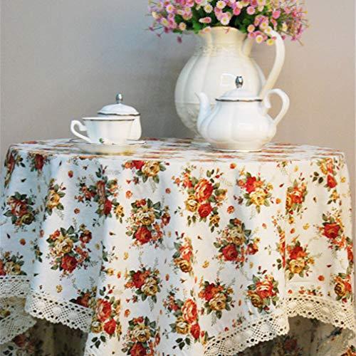 Nunubee Mantel Rectangular Lavable Mantel de Lino de Algodón Mantel Adecuado para la Decoración de la Cocina del hogar, Mantel de Jardín al Aire Libre (Blanco Crema, 90 x 90 cm)