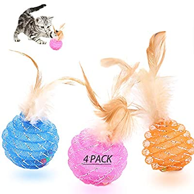 UHKZ Interactive Cat Ball Toys with Feather ,The Best Brightly Colored Cat Toys with Bells,Health Sport for Your Cat.Hour of Entertainment,Safe for Your Kitty ,Pack of 4