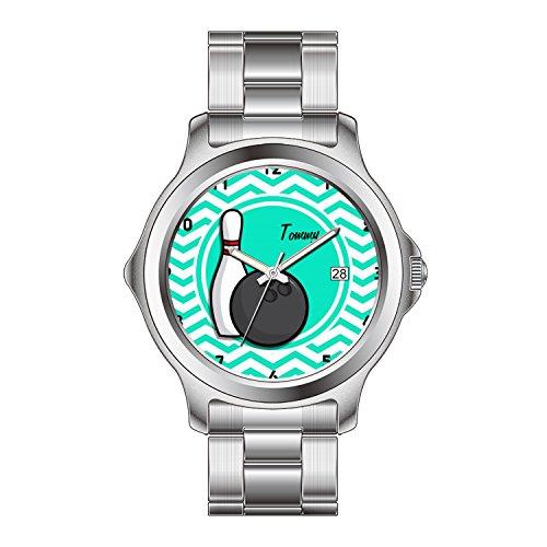 FDC Damen-Armbanduhr, japanisches Quarzuhrwerk, Datumsanzeige, Edelstahl-Armband, Bowling, Aqua-Grün Chevron