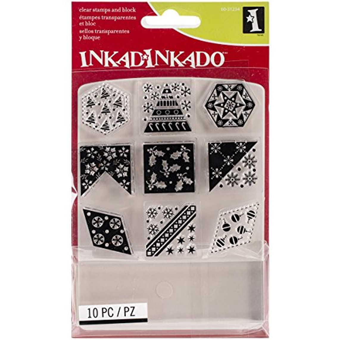 Inkadinkado Christmas Inchie Clear Stamps, 4 by 5.125-Inch, Christmas Quilt