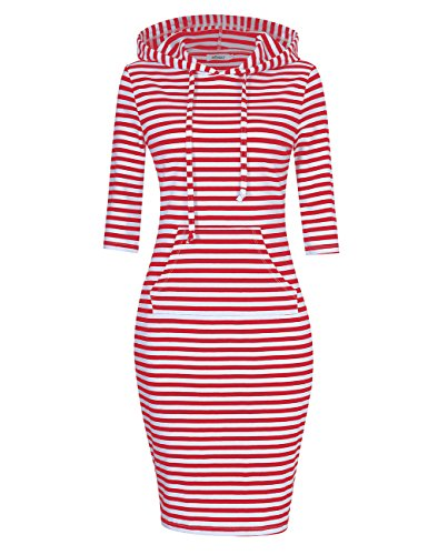 MISSKY Women Pullover Striped Pocket 3 4 Sleeve Dresses for Women (S,Red White)