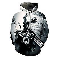 HGFHKL レディースメンズフーディー3Dプリンティング3Dプリンティング音楽ラジオ長袖プルオーバーフーディーフード付きスウェットシャツ