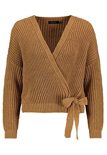 Sublevel Damen Strick-Cardigan zum Binden mit V-Ausschnitt Brown M/L
