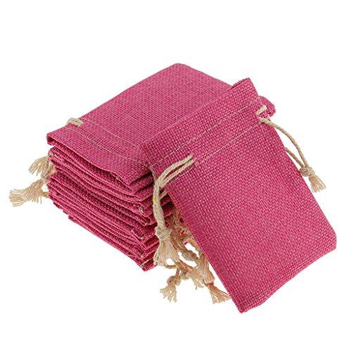 Milageto 10x Bolsas de Arpillera Natural Saco con Cordón Regalos de Boda Pequeños Joyas Regalo - Rosado, 8 x 10 cm