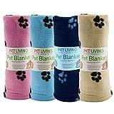 Coperta in pile per animali domestici, per cani, gatti, cuccioli, animali domestici, extra large, con stampa di zampe, coperta morbida e calda, 100 – 150 cm, extra large (rosa)