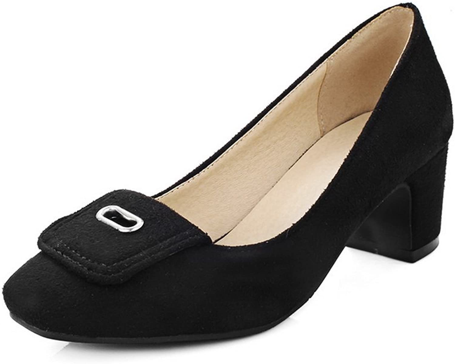 A&N Ladies Square-Toe Chunky Heels No-Closure Low-Cut Uppers Suede Pumps-shoes