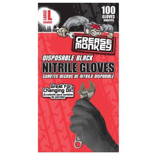 Grease Monkey Disposable Nitrile Gloves, Pack of 100, Large