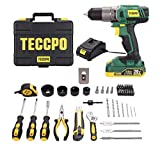 TECCPO 20V Cordless Drill & Tool Kit, Fast Charger 2.0Ah Battery, 21+1 Torque Setting, LED Light, 2 Variable Speed, 63 PCS, Drill Home Tool Kit/Set with Storage Tool Box - BHD100D