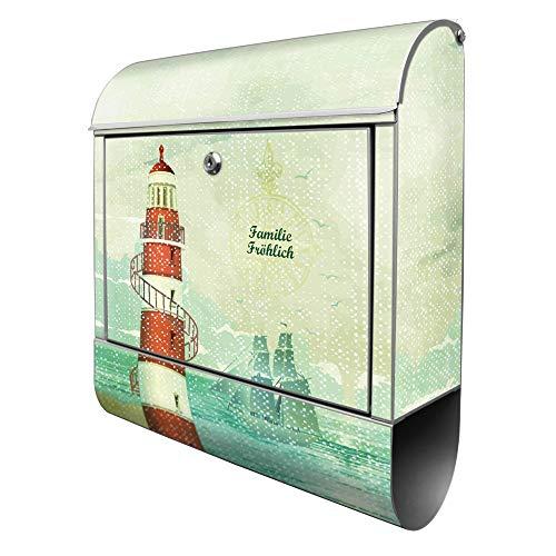 Banjado Design Briefkasten personalisiert mit Motiv Alter Leuchtturm | Stahl pulverbeschichtet mit Zeitungsrolle | Größe 39x47x14cm, 2 Schlüssel, A4 Einwurf, inkl. Montagematerial