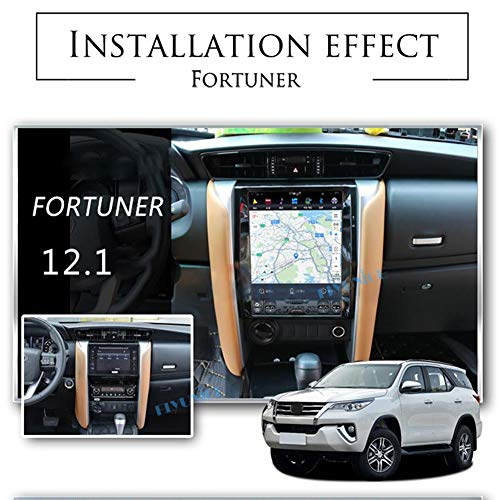 Flyunice 12.1 Inch Android 8.1 IPS Screen Tesla Style 6 Core 4GB RAM Car Stereo Radio Head Unit for Toyota Fortuner Revo 2016+ Auto A/C Built-in Carplay GPS Navi Bluetooth Multimedia Player WiFi