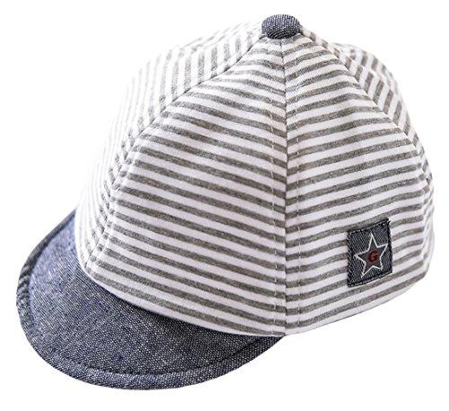 DEMU Baby Kleinkinder Fischerhut Strandhut Sommerhut Sonnenschutz Kappe Schirmmütze (Schiebermütze Grau, Hut Umfang 50cm)