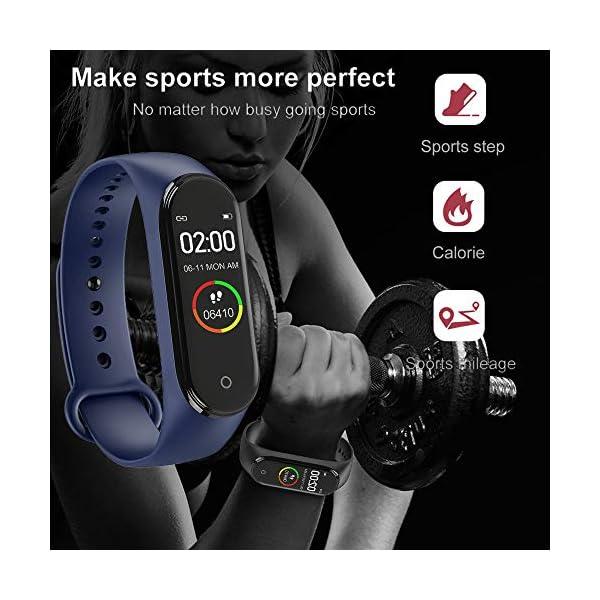 bqlove M4 Fitness Tracker, Reloj De Seguimiento De Actividad con Monitor De Ritmo CardíAco, Banda De Fitness Inteligente… 5