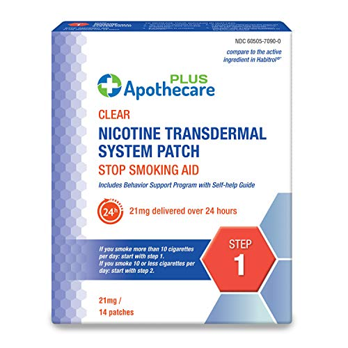 Apothecare Plus Nicotine Transdermal System Patch 21 Mg Delivered Over 24 Hours | Stop Smoking Aid | Step 1, Clear, 14 Patches, 14 Count