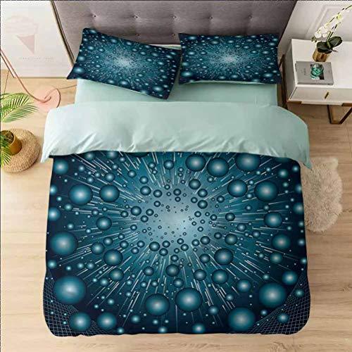 Aishare Store - Juego de funda de edredón con estampado de fantasía, futurista Galaxy Energy, 3 piezas decorativas con 2 fundas de almohada
