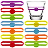 Jyongmer 24 Pieces Drink Markers,Wine Glass Charms Markers Silicone Strip Tag Marker for Glass Cup Wine,Champagne Flutes,Cocktail Glass Party
