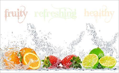 Artland Design Spritzschutz Küche I Alu Küchenrückwand Herd BxH: 90x55 cm sehr schnelle und einfache Montage Fruchtig - erfrischend - gesund - Zitronen Kirschen Erdbeeren Limetten