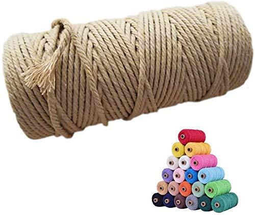 Ahsado Bunte Makramee-Schnur 3mm*100M DIY Naturgarn Baumwolle Makramee-Seil Baumwollschnur Baumwollgarn Schnur für DIY Wandpflanze Kleiderbügel Handwerk und Machen Traumfänger (Kaffee)