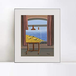 INVIN ART Framed Canvas Art The Human Condition, 1935 by Rene Magritte Abstract Wall Art Living Room Home Office Decorations(Aluminum Metal White Frame with Mat & Glass,20