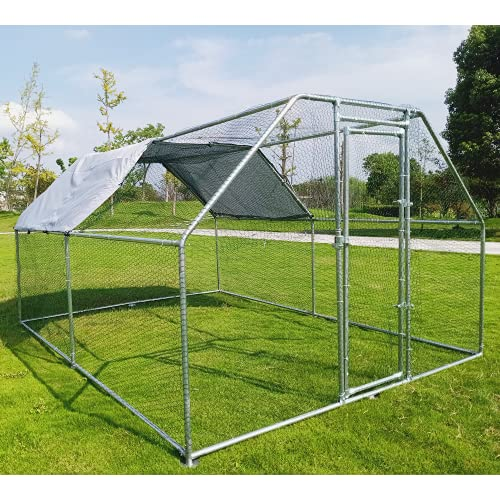 Hiwokk Large Metal Chicken Coop Walk-in Cage Chicken Run Duck House Chicken Pen Dog Kennel Flat Roofed Cage with Waterproof and Anti-Ultraviolet Cover for Outdoor Farm Use(9.2' L x 12.5' W x 6.4' H)