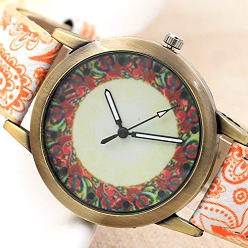 Hanone Reloj de Mujer de Bronce de Porcelana Azul y Blanco Pd329 Relojes de Moda Casuales Blanco-Naranja