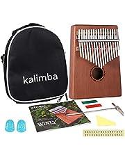 Kalimba 17 sleutels - Kalimba duimpiano met leerhandleiding en stemhamer, draagbare Mbira Sanza Afrikaans houten vingerpiano voor kinderen en volwassenen