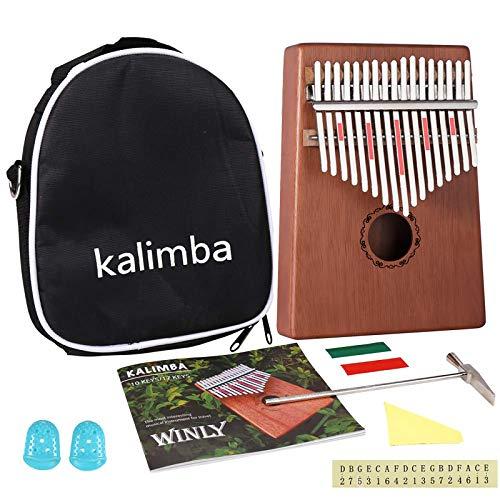 Kalimba 17 clés – Piano à pouce Kalimba avec instructions d'apprentissage et marteau d'accordage, portable Mbira Sanza en bois africain pour enfants, adultes, débutants