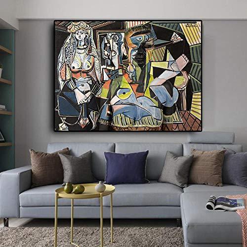 Mujeres Argel Lienzo Pintura Abstracto Pared Arte Escandinavo Poster y Impresiones para Salon Habitación Dormitorio Hogar Cuadro Decoracion 50x70cmx1 No Marco