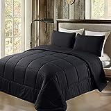 Exclusivo Mezcla Lightweight 2-Piece Comforter Set for All Seasons, Down Alternative Comforter with 1 Pillow Sham, Twin Size, Black