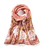 Invisible World Pañuelo Cabeza de Seda Foulard de Pelo Ligera Pintado a Mano para Mujer Rosas Malva