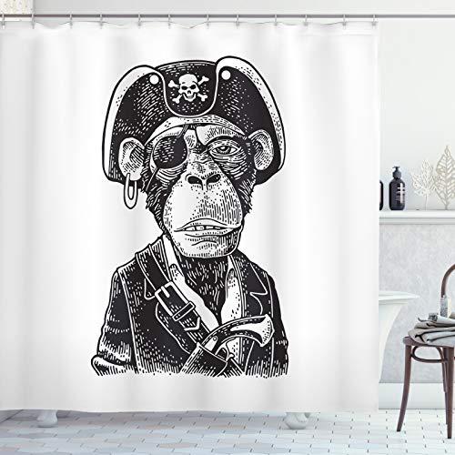 ABAKUHAUS Gorilla Duschvorhang, Piraten-AFFE Portrait-Kunst, mit 12 Ringe Set Wasserdicht Stielvoll Modern Farbfest & Schimmel Resistent, 175x240 cm, Charcoal Grau & Weiß