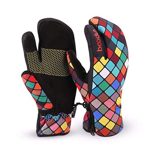 VSUSN Touchscreen Skihandschuhe Damen Wasserdicht Winddicht Winterhandschuhe Winter Warm Snowboardhandschuhe(Bunt,S)