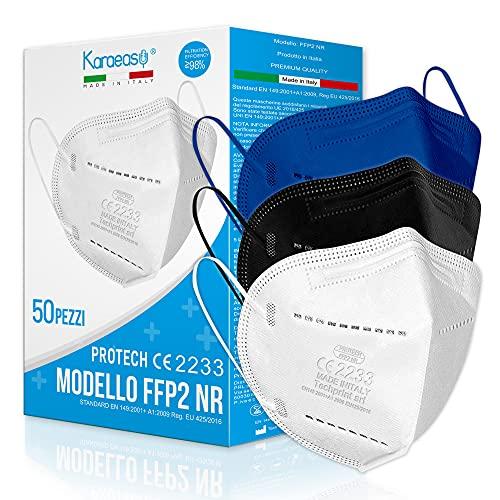 KARAEASY Mascherine Ffp2 Certificate CE Made In Italy 5 strati 20 Bianco + 15 Nere + 15 Blu