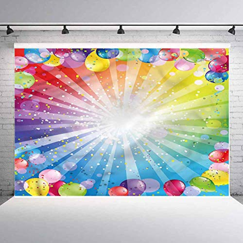 7x7FT Vinyl Backdrop Photographer,Birthday,Festive Balloons Confetti Photo Backdrop Baby Newborn Photo Studio Props