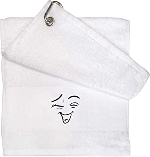 'Winking Face' White Golf / Gym Towel (GT00033030)