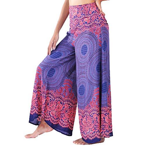 Lofbaz Donna Gamba Larga Palazzo Pantaloni Yoga Hippie Harem Flowy Pantaloni - Rosa 1 Blu Scuro - S