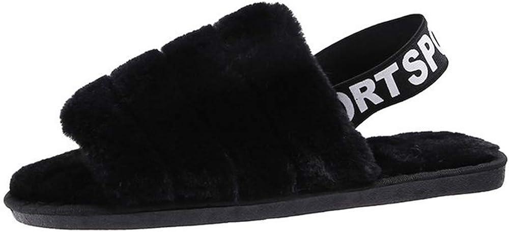 Abberrki Women Plush Slippers with Elastic Back Strap Open Toe Furry Slippers