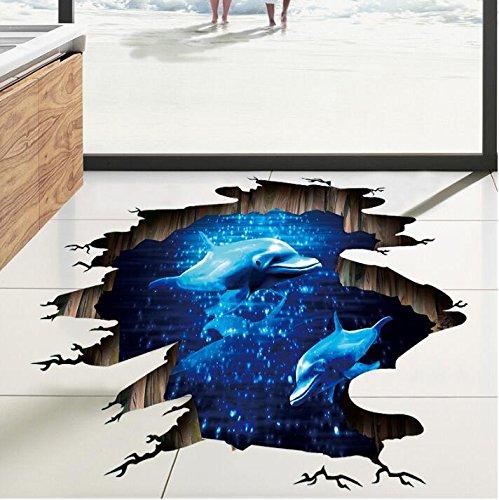 HALLOBO® XXL Wandtattoo Wandaufkleber 3D Boden Delphin Unterwasserwelt Delfine Marine Meer Wandbild Wohnzimmer Schlafzimmer Kinderzimmer Deko Badzimmer