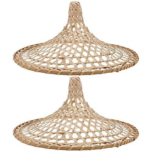 PIXNOR 2 Piezas de Lámpara Colgante de Linterna de Bambú Retro Chino Sombreros Coolie en Forma de Cesta de Ratán Colgante de Techo Sombra de Lámpara de Mimbre de Cúpula de Mimbre