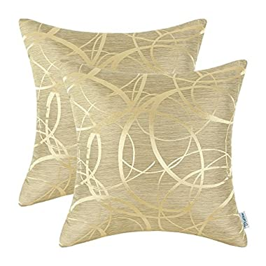 CaliTime Pack of 2 Cushion Covers Throw Pillow Covers Cases for Couch Sofa Home Decor Modern Circles Rings Geometric 18 X 18 Inches Gold