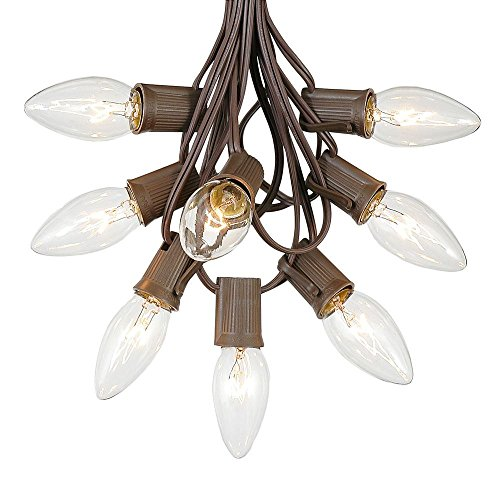C9 Clear Christmas String Light Set - Outdoor Christmas Light String - Hanging Christmas Lights - Roofline Light String - Outdoor Patio String Lights - Brown Wire - 100 Foot