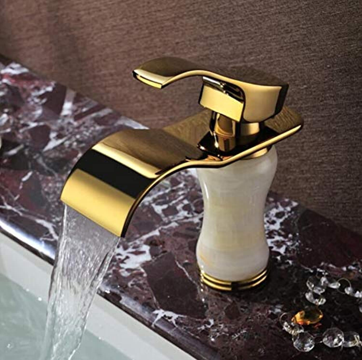 Basin Faucet,basin Waterfall Marble gold-plated Faucet, European Antique Single-sided, Hot And Cold Copper Natural Jade, Classic