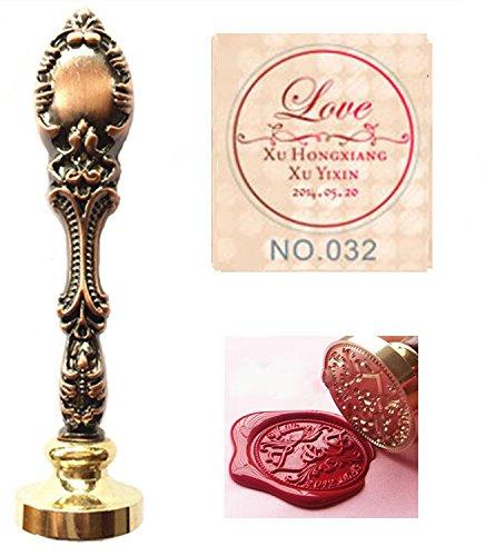 MNYR Vintage op maat gemaakte namen datum liefde decoratieve cursieve monogram gepersonaliseerd ontwerp logo foto palissander afdichting stempel smelten lepel stokken kaars houten doos gift bruiloft uitnodigingen Set Red Brass Stamp