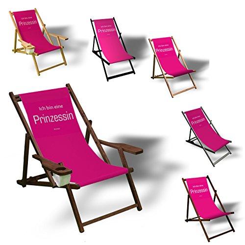 Printalio - Ich bin eine Prinzessin - Liegestuhl Bedruckt Balkon Garten Sonnenliege Relax Holz Terrasse   mit Armlehne, Natur