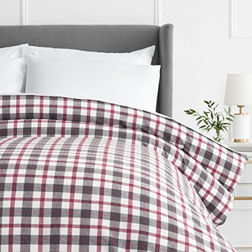 Pinzon 160 Gram Plaid Flannel Cotton Duvet Cover, Full / Queen, Red / Grey Plaid