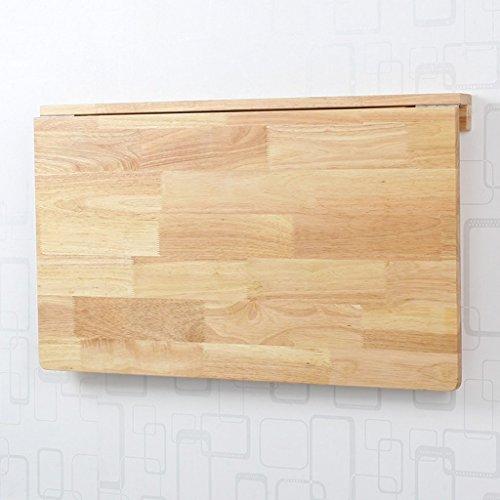 Unknow Mesa Plegable Mesa de Comedor de Hoja abatible montada en la Pared Mesa de Estudio de Madera Maciza Mesa de Estudio 6 Estilos Opcionales (Color: Madera de Caucho, tamaño: 60 * 40 cm)