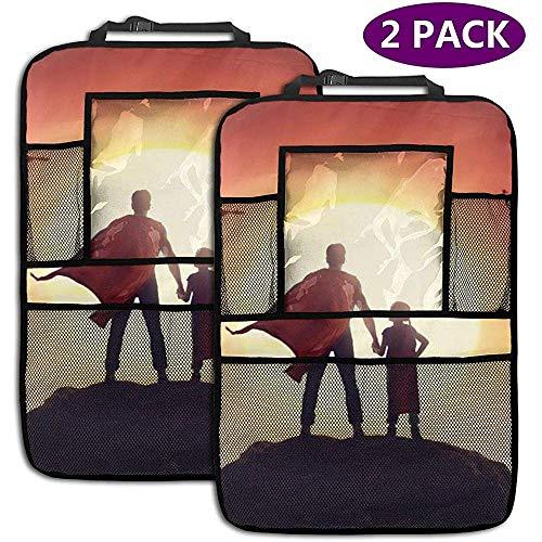XZfly su-per-Man Personalizzatore per Sedile Posteriore Personalizzato per Auto, Proteggi Sedile Posteriore per tappetini per Bevande per Libri, Bevande in Bottiglia, Confezione da 2